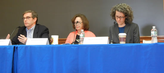 Barnard Panel at Parent Weekend (L-R) James Basker, Achsah Guibbory, & Rachel Eisenrath