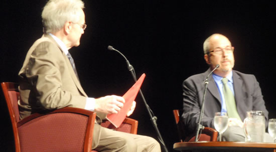 (L-R) Michael Goodwin interviews Neil Barsky