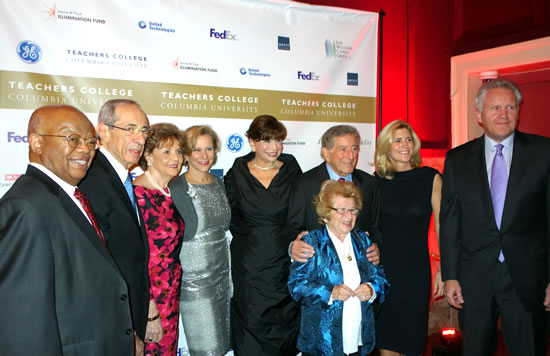 (L-R) Dr. James Comer; former NYS Gov. Mario Cuomo; his wife, former NYS First Lady Matilda Cuomo; Laurie M. Tisch; TC Pres. Susan Fuhrman; TC alumna Dr. Ruth Westheimer; Tony Bennett; his wife, Susan Benedetto; Jeffrey Immelt