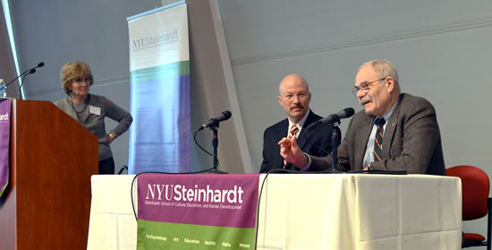 (L-R) Moderator, Sharon Weinberg, and Panelists Howard Wainer and George Noelle