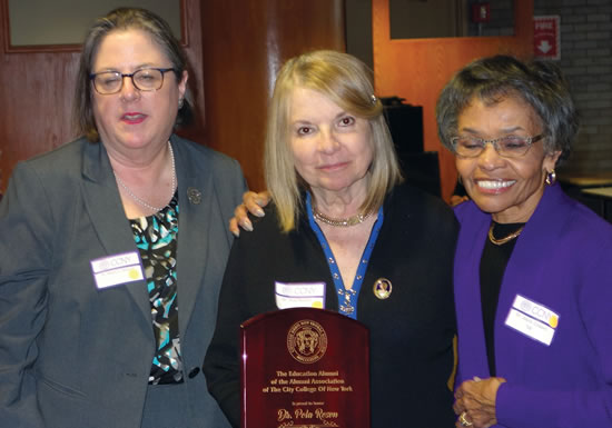 (L-R) Dean Mary Driscoll, CCNY, Dr. Pola Rosen, Dr. Joyce Coppin, President of Alumni Association, CCNY