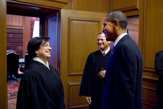 President Barack Obama talks with Justice Elena Kagan and Chief Justice John Roberts before Kagan's Investiture Ceremony at the Supreme Court in 2010