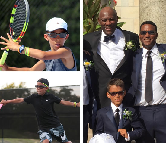 Hall of Fame basketball player Bob McAdoo (top left) with his son, Robert McAdoo III, and grandson, Robert McAdoo IV. McAdoo IV is one of the nation's top 9-year-old tennis players.