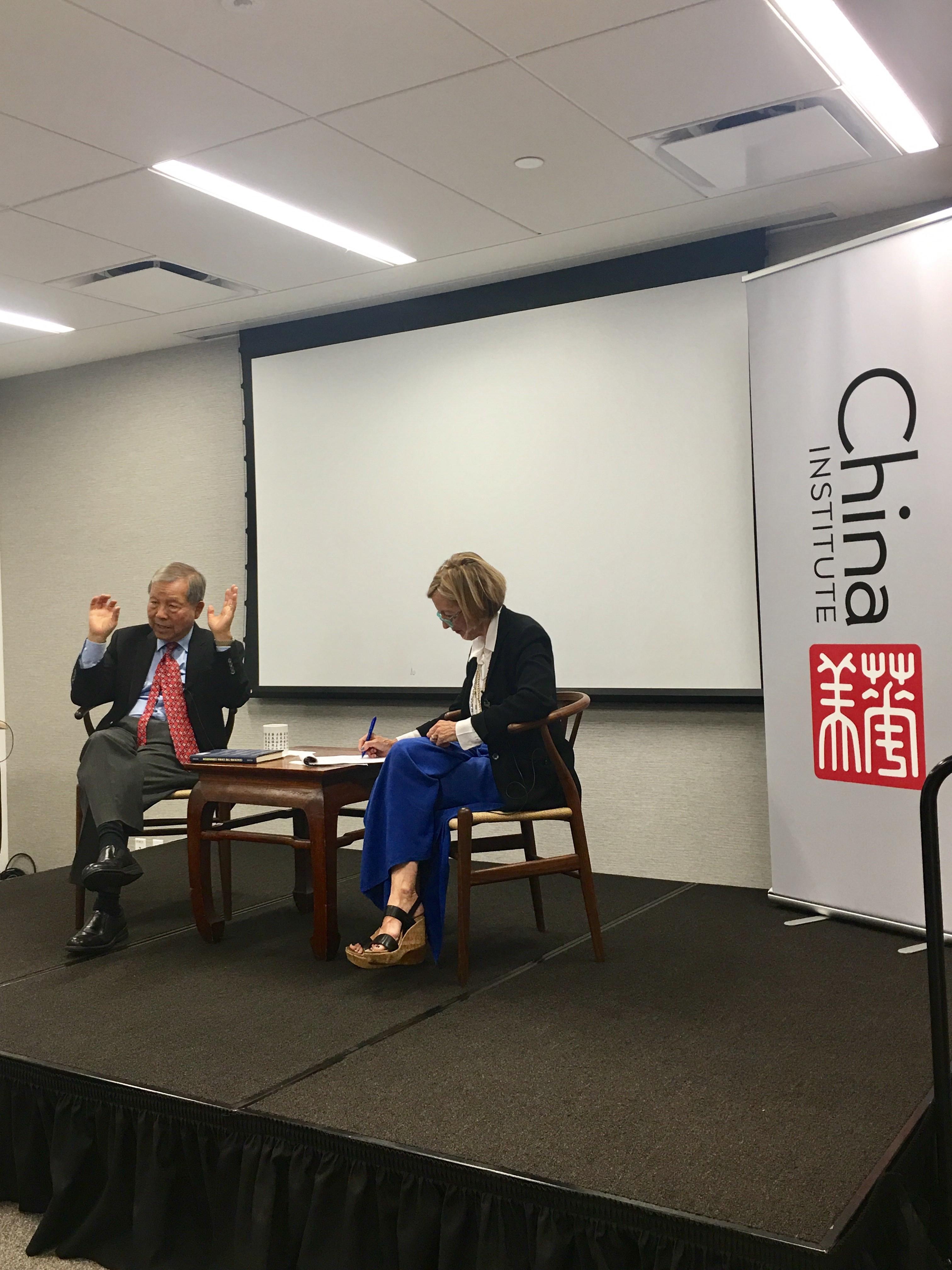 Caption: Yukon Huang (left) and Dorinda Elliott (right) at China Institute, Sep. 7, 2017